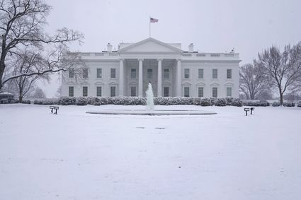 snow covered white house lawn