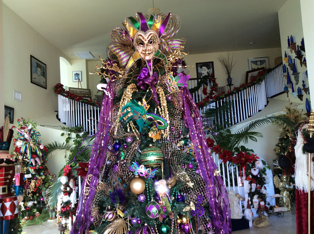 bonsall home features 23 trees village news - Purple And Gold Christmas Tree Decorations